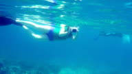 Female swimmer with underwater camera snorkeling in North Bali coral reef