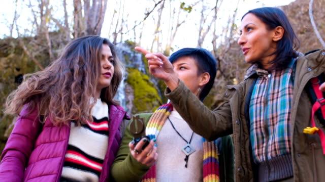Female tourists using compass