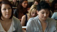 Female university students in lecture hall