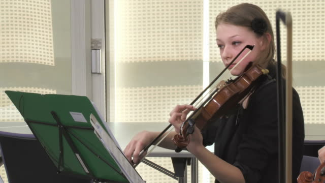 HD: Female Violinist Playing In Music Class