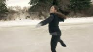 Female young adult skates in freedom.