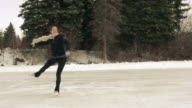 Female young adult skates with freedom and joy.