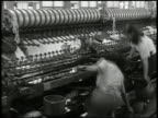 Females in line working in textile manufacturing factory female working on loom machine biting string thread Industry