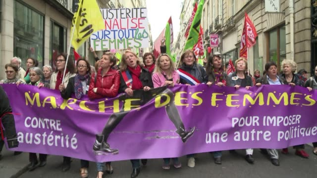 Feminist organizations have marched in Paris to denounce the governments economic austerity measures CLEAN Women march against austerity in Paris on...