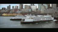 AERIAL WS Ferries in harbor / Seattle, Washington, USA