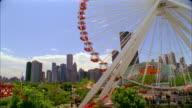 SLO MO, CU, TU, Ferris wheel in Navy Pier Park, Chicago, Illinois, USA