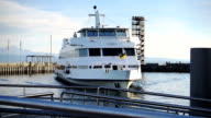 Ferry enters harbor at Lake Constance