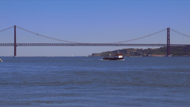 Ferry on the tejo with the 25 de abril bridge and cristobel in the background.