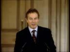 9th man held POOL Downing Street Tony Blair MP at press conference podium GV SIDE Press Tony Blair MP press conference SOT I am concerned about it...