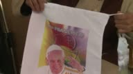 A few days before the popes visit to Bolivia all sorts of souvenirs in his image are popping up on the streets of La Paz