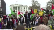 A few hundred pro Palestine protesters gather in front of the White House to denounce the American Israel Public Affairs Committee convention taking...