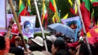 A few hundred progovernment protesters gather in Myanmar's commercial capital Yangon condemning Rohingya militants as well as perceived foreign...