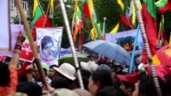 A few hundred progovernment protesters gathered in Myanmar's commercial capital Yangon on Monday condemning Rohingya militants as well as perceived...
