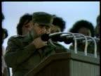 Fidel Castro giving speech to huge crowd denouncing Mikhail Gorbachev's Glasnost and Perestroika policies Havana 7 Dec 88