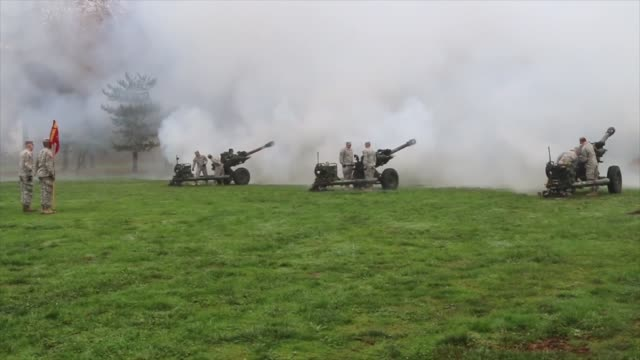 Field Artillery shoots 21Gun Salute during Veterans Day event in Albany Oregon on November 11 2016