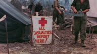 Field hospital in tents with triage center and wards marked with signs / the Philippines