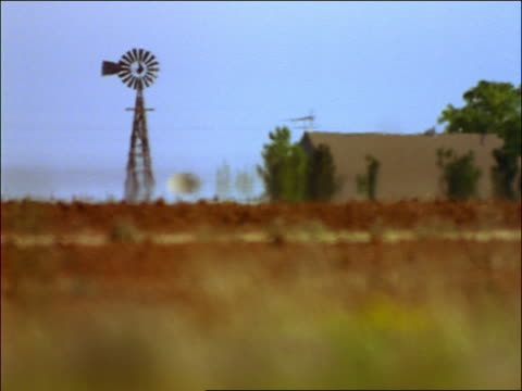 Field of yellow + brown grasses with farm building + windmill in background / heat waves / Texas