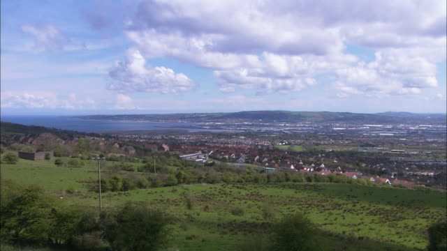 Fields and Belfast city from hill, Northern Ireland
