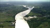 AERIAL, Fields and Garonne River near Bordeaux, Aquitaine, France