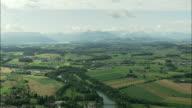 AERIAL Fields and Limmat river near Zurich, Switzerland