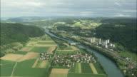 AERIAL Fields and plant along river Aare, Rekingen, Aargau, Switzerland