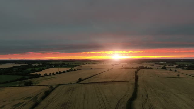 Fields at sunset in Autumn from a drone