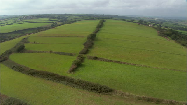 LOW AERIAL, Fields with ditch boundaries, Laughar, Wales