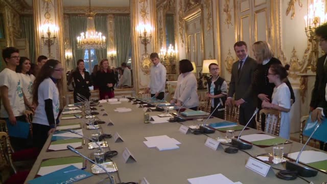 Fifteen children and teenagers visit the Elysee Palace as part of International Children's Day touring the French presidential residence with First...