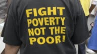 Fight Poverty Not The Poor TShirt in Detroit on August 02 2013 in Detroit Michigan