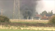 US fighter jet on training exercise crashes in Lincolnshire ENGLAND Lincolnshire EXT Black smoke rising from field where F15 fighter jet crashed