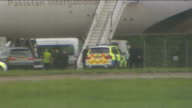 Fighter jets scrambled following incident on PIA passenger aircraft two men arrested ENGLAND Essex Stansted Airport EXT Various shots of PIA aircraft...
