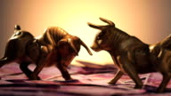 Figurine of two bulls on indian two thousand banknotes
