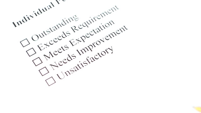 filling performance review form - unsatisfactory is crossed
