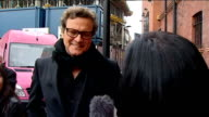 2011 Academy Award Nominations Colin Firth doorstep interview ENGLAND London EXT Colin Firth interview as leaving theatre on 'Best Actor' Oscar...