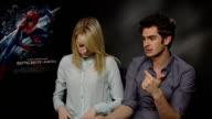 Amazing Spiderman Andrew Garfield and Emma Stone interviews ENGLAND London INT Andrew Garfield and Emma Stone interview SOT