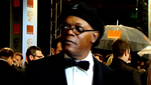 Arrivals and interviews GVs Samuel L Jackson being interviewed Miranda Richardson interview SOT Heartening that 'Made In Dagenham' is British film...