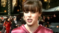 celebrity arrivals Alexandra Roach interview SOT On the BAFTAs / looking forward to seeing Meryl Streep / most dashing actor Paddy Considine / most...