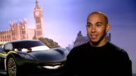 'Cars 2' junket interviews Lewis Hamilton interview ENGLAND London INT Lewis Hamilton SOT on not being about to choose his car design because of...