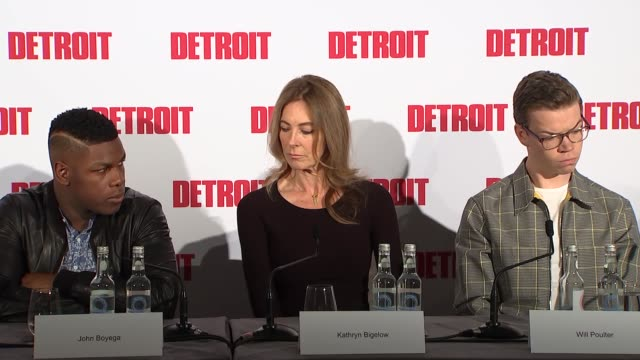 'Detroit' press conference with director and cast ENGLAND London INT Press conference host Francine Stock with Will Poulter Kathryn Bigelow John...