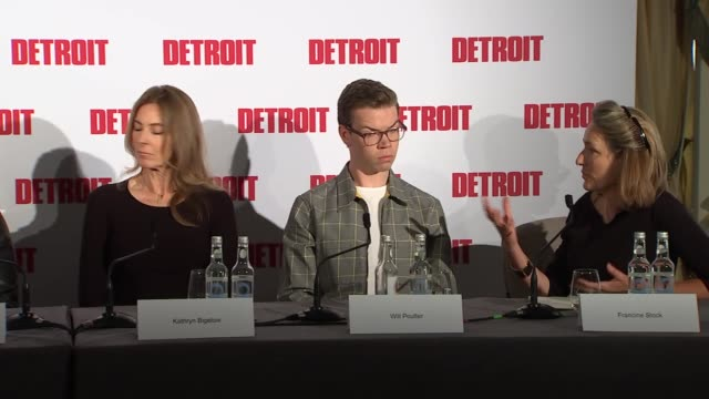 'Detroit' press conference with director and cast Press conference continued with host Francine Stock with Will Poulter Kathryn Bigelow John Boyega...
