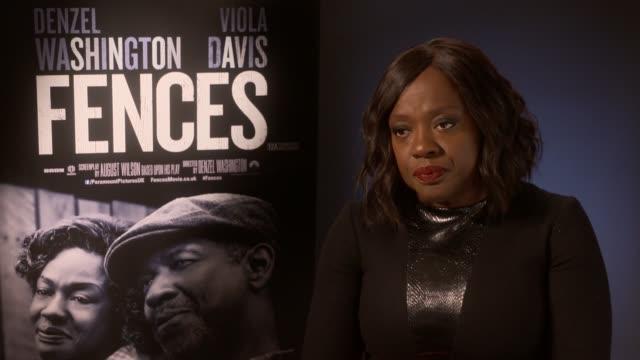 'Fences' Viola Davis interview Film 'Fences' Viola Davis interview ENGLAND London INT Viola Davis interview SOT re new film 'Fences'