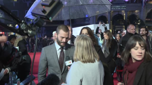 'Fifty Shades Darker' premiere red carpet interviews Film 'Fifty Shades Darker' premiere red carpet interviews ENGLAND London EXT / NIGHT **Music...