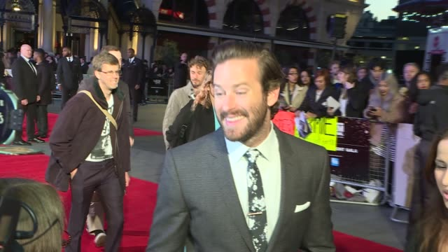 'Free Fire' premiere Red carpet arrivals Hammer speaking to press / Armie Hammer interview SOT / Hammer speaking to press