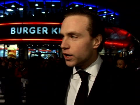'Hot Fuzz' Red carpet interviews at premiere Rafe Spall speaking to press SOT On his character and that of Patrick Considine / On how he became...