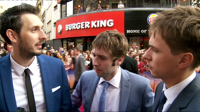 Inbetweeners 2 premiere Arrivals and interviews James Buckley Simon Bird Joe Thomas and Blake Harrison SOT on being at premiere of the second film /...
