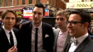 'Inbetweeners' film Arrivals at premiere Simon Bird Joe Thomas James Buckley and Blake Harrison interview SOT on filming / had a lot of fun on being...