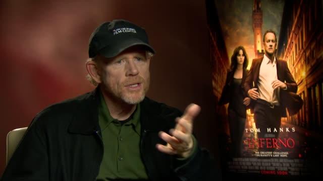 'Inferno' junket interviews ENGLAND London INT Ron Howard interview SOT re new film 'Inferno'