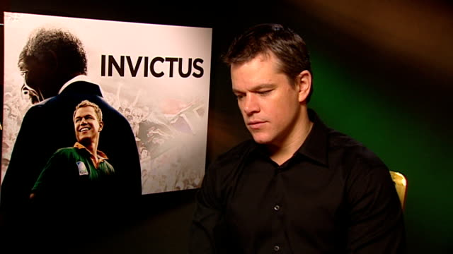 'Invictus' Matt Damon and Morgan Freeman interviews ENGLAND London INT Matt Damon interview SOT On the 1995 Rugby World Cup / his knowledge of rugby...