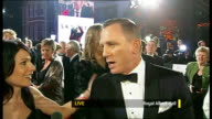 James Bond 'Skyfall' premiere ENGLAND London Royal Albert Hall Daniel Craig LIVE interview on red carpet with reporter in shot SOT