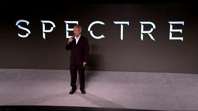 James Bond 'Spectre' Photocall and interviews Sam Mendes speech SOT Car being unveiled / car logo Sam Mendes speech to introduce cast members SOT MI6...